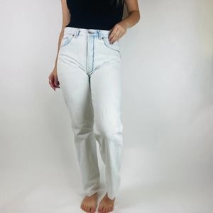 Levi's White Wash High Waisted Straight Leg Jeans